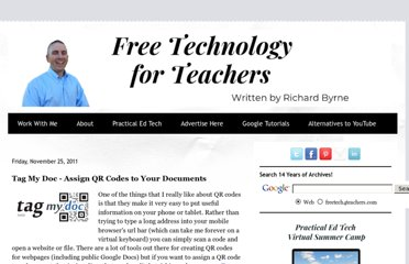 http://www.freetech4teachers.com/2011/11/tag-my-doc-assign-qr-codes-to-your.html#.UVkmu9GI70N