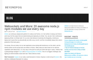 http://blog.beyondfog.com/websockets-and-more-20-awesome-node-js-npm-modules-we-use-every-day/#.UVlsX9GI70O