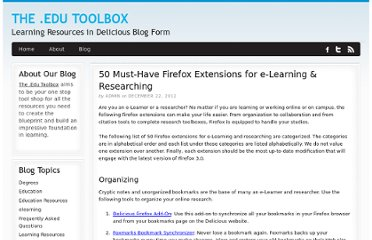 http://bestcollegerankings.org/2012/50-must-have-firefox-extensions-for-e-learning-researching/
