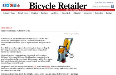 http://www.bicycleretailer.com/recalls/2012/04/05/todson-recalls-about-40-000-child-seats#.UVmcytGI70M