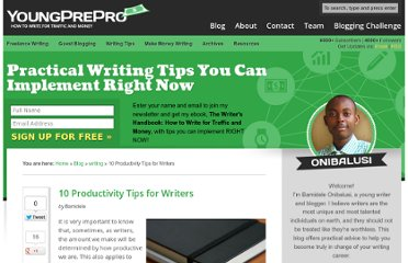 http://www.writersincharge.com/writing-productivity-tips/