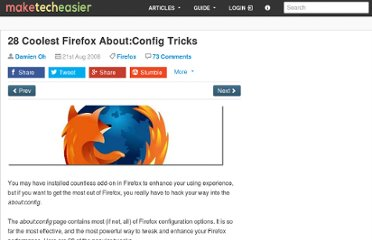 http://www.maketecheasier.com/28-coolest-firefox-aboutconfig-tricks/2008/08/21