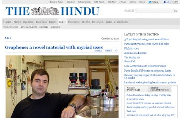 http://www.thehindu.com/sci-tech/graphene-a-novel-material-with-myriad-uses/article816652.ece