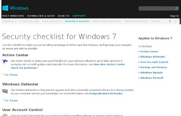 http://windows.microsoft.com/en-us/windows7/security-checklist-for-windows-7
