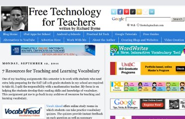 http://www.freetech4teachers.com/2011/09/7-resources-for-teaching-and-learning.html#.UVnSZdGI70M