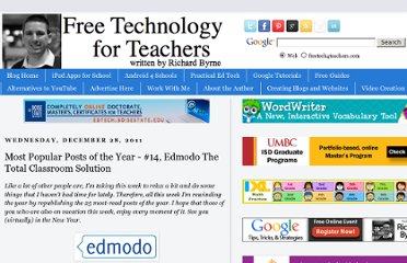 http://www.freetech4teachers.com/2011/12/most-popular-posts-of-year-14-edmodo.html#.UVnXedGI70M