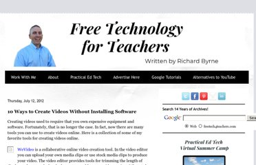http://www.freetech4teachers.com/2012/07/10-ways-to-create-videos-without.html#.UVnjMdGI70M