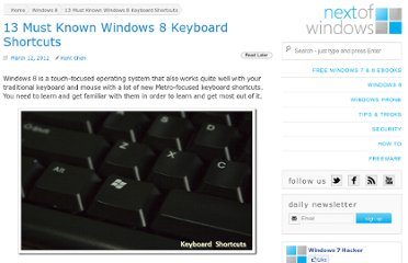 http://www.nextofwindows.com/13-must-known-windows-8-keyboard-shortcuts/