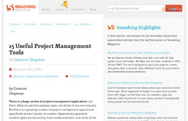 http://www.smashingmagazine.com/2008/11/13/15-useful-project-management-tools/