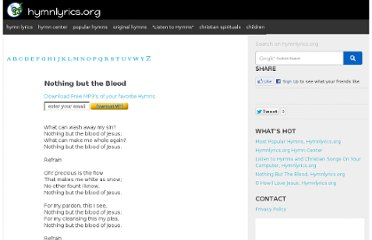 http://www.hymnlyrics.org/mostpopularhymns/nothing_but_the_blood.php#gsc.tab=0