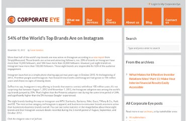 http://www.corporate-eye.com/main/54-of-the-worlds-top-brands-are-on-instagram/