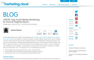 http://www.salesforcemarketingcloud.com/blog/2012/03/unicef-uses-social-media-monitoring-for-annual-flagship-report/