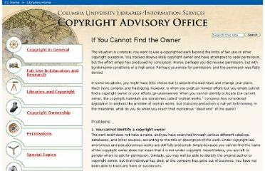 http://copyright.columbia.edu/copyright/permissions/if-you-cannot-find-the-owner/