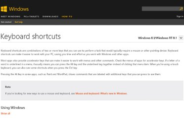 http://windows.microsoft.com/en-us/windows-vista/keyboard-shortcuts