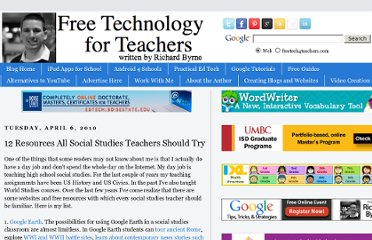 http://www.freetech4teachers.com/2010/04/12-resources-every-social-studies.html#.UVyKUNGI70M