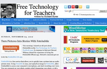 http://www.freetech4teachers.com/2012/11/turn-pictures-into-stories-with.html#.UVyh9dGI70N