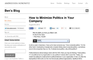http://bhorowitz.com/2010/08/23/how-to-minimize-politics-in-your-company/