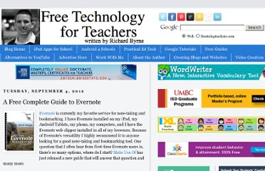 http://www.freetech4teachers.com/2012/09/a-free-complete-guide-to-evernote.html#.UV0IPdGI70O