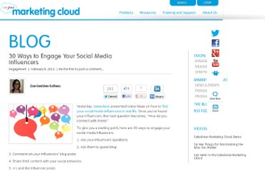 http://www.salesforcemarketingcloud.com/blog/2012/02/30-ways-to-engage-your-social-media-influencers/