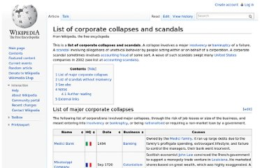 http://en.wikipedia.org/wiki/List_of_corporate_collapses_and_scandals