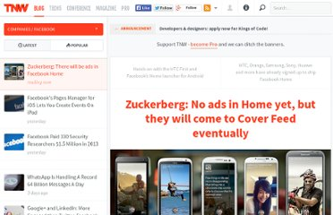 http://thenextweb.com/facebook/2013/04/04/zuckerberg-no-ads-in-home-yet-but-will-come-to-coverfeed-eventually/