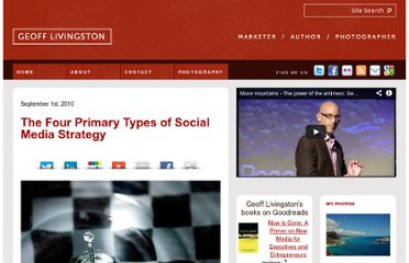 http://geofflivingston.com/2010/09/01/the-four-primary-types-of-social-media-strategy/