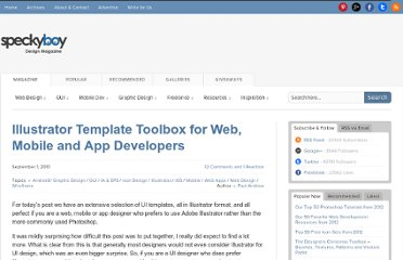 http://speckyboy.com/2010/09/01/illustrator-template-toolbox-for-web-mobile-and-app-developers/