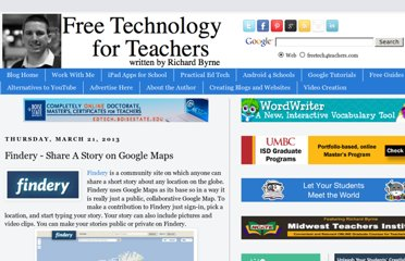 http://www.freetech4teachers.com/2013/03/findery-share-story-on-google-maps.html#.UV8GodGI70N