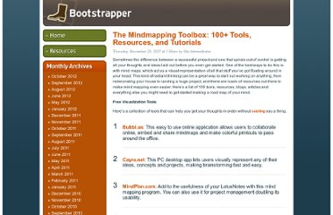 http://www.businesscreditcards.com/bootstrapper/the-mindmapping-toolbox-100-tools-resources-and-tutorials/