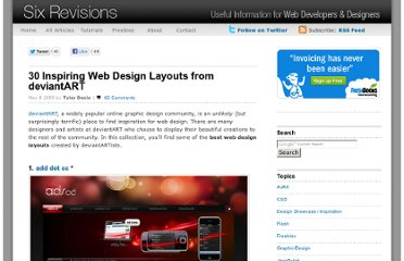 http://sixrevisions.com/design-showcase-inspiration/30-inspiring-web-design-layouts-from-deviantart/