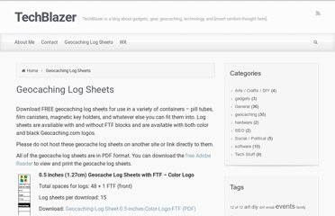 http://www.techblazer.com/geocaching-log-sheets/