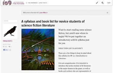 http://io9.com/5626861/a-syllabus-and-book-list-for-novice-students-of-science-fiction-literature