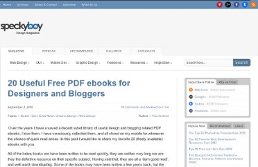http://speckyboy.com/2010/09/02/20-useful-free-pdf-ebooks-for-designers-and-bloggers/