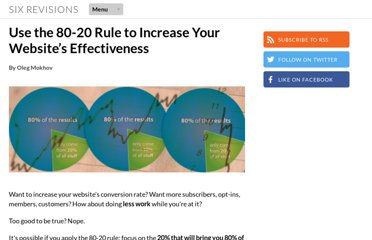 http://sixrevisions.com/web_design/use-the-80-20-rule-to-increase-your-websites-effectiveness/