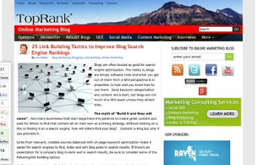 http://www.toprankblog.com/2009/11/25-link-building-tactics-to-improve-blog-search-engine-rankings/