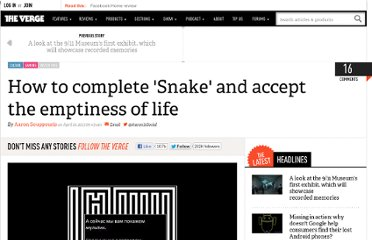 http://www.theverge.com/2013/4/10/4208308/how-to-complete-snake-and-accept-the-emptiness-of-life