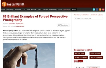 http://www.instantshift.com/2010/08/24/88-brilliant-examples-of-forced-perspective-photography/