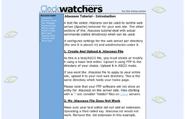 http://www.clockwatchers.com/htaccess_intro.html