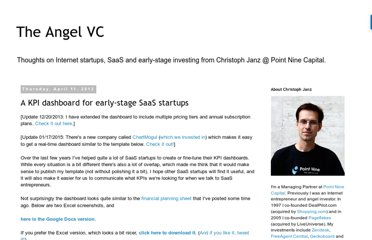 http://christophjanz.blogspot.com/2013/04/a-kpi-dashboard-for-early-stage-saas.html