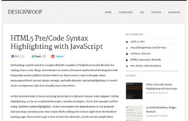 http://designwoop.com/2013/04/html5-precode-syntax-highlighting-with-javascript/