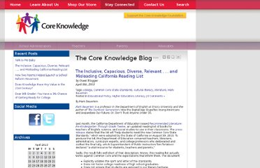 http://blog.coreknowledge.org/2013/04/08/the-inclusive-capacious-diverse-relevant-and-misleading-california-reading-list/