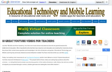 http://www.educatorstechnology.com/2013/04/10-great-youtube-videos-for-teachers.html