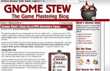 http://www.gnomestew.com/gming-advice/gnome-stews-giant-list-of-rpg-adventure-types/