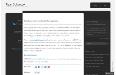 http://schuetzler.wordpress.com/2013/04/13/create-a-new-evernote-note-from-launchy/