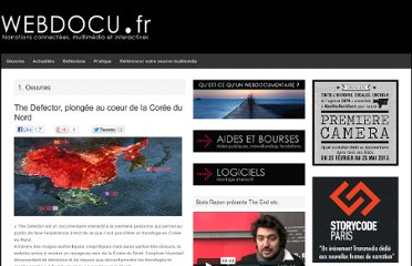 http://webdocu.fr/web-documentaire/2013/04/03/the-defector-le-webdoc-qui-vous-fait-plonger-au-coeur-de-la-coree-du-nord/