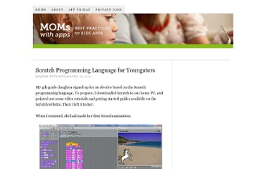 http://momswithapps.com/2013/04/16/scratch-programming-language-for-youngsters/