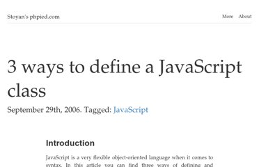 http://www.phpied.com/3-ways-to-define-a-javascript-class/