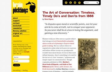 http://www.brainpickings.org/index.php/2013/04/17/the-art-of-conversation-martine-etiquette-1866/