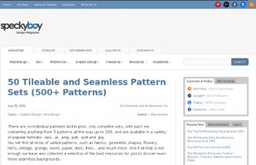 http://speckyboy.com/2010/07/28/50-tileable-and-seamless-pattern-sets-500-patterns/
