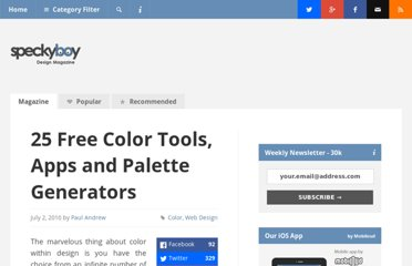 http://speckyboy.com/2010/07/02/25-free-color-tools-apps-and-palette-generators/
